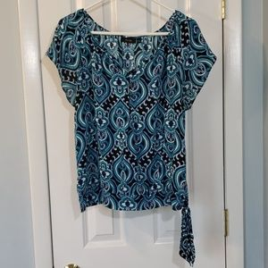 Apt 9 Blue Paisley Short Sleeve Top with Side Tie